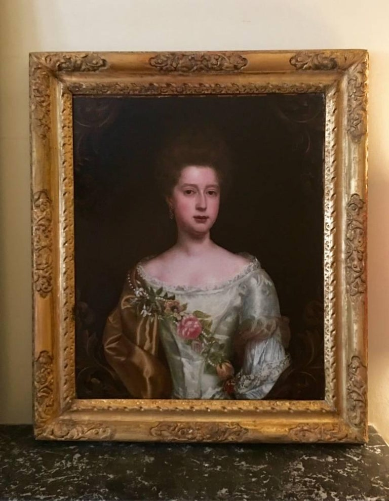 Portrait of a Lady with Pearl and Flower Garland, Attributed to Thomas Bardwell For Sale 5