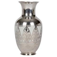 Thomas Bavaria Art Deco Silver Overlay Porcelain Vase