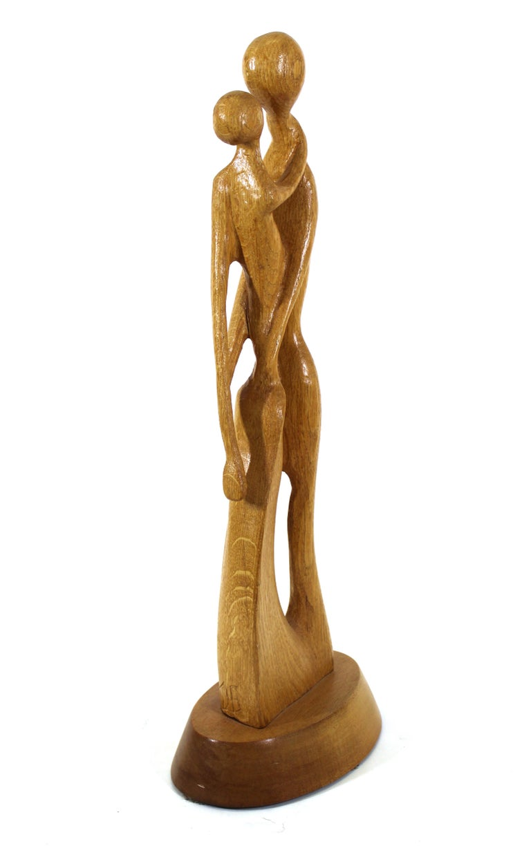 Thomas Bazis Mid-Century Modern Carved Wood Figural Sculpture In Good Condition In New York, NY