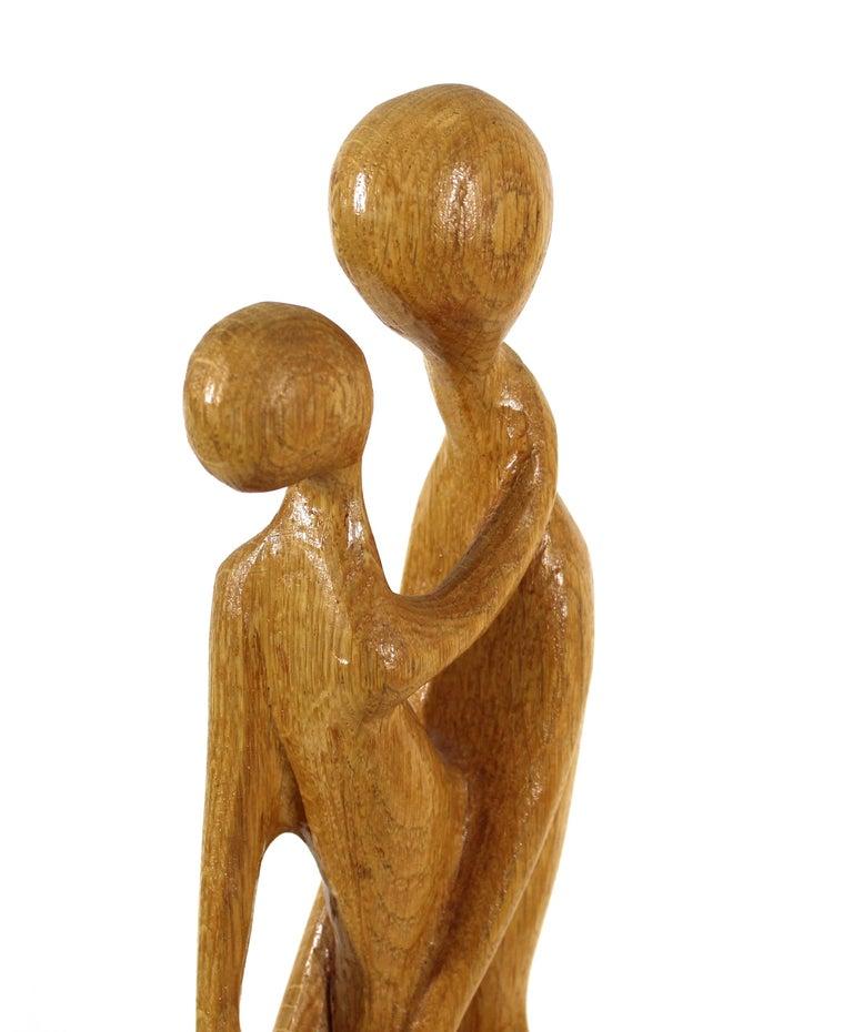 20th Century Thomas Bazis Mid-Century Modern Carved Wood Figural Sculpture