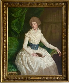English 18th century Portrait of a Lady seated in a Library with a book
