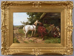 19th Century landscape oil painting of horses near a barn with figures & a dog