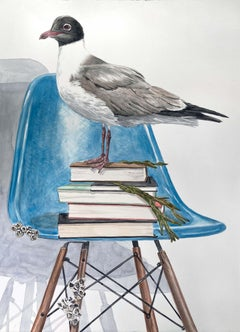 Black Headed Gull on Blue Chair (Contemporary Surrealist Painting)