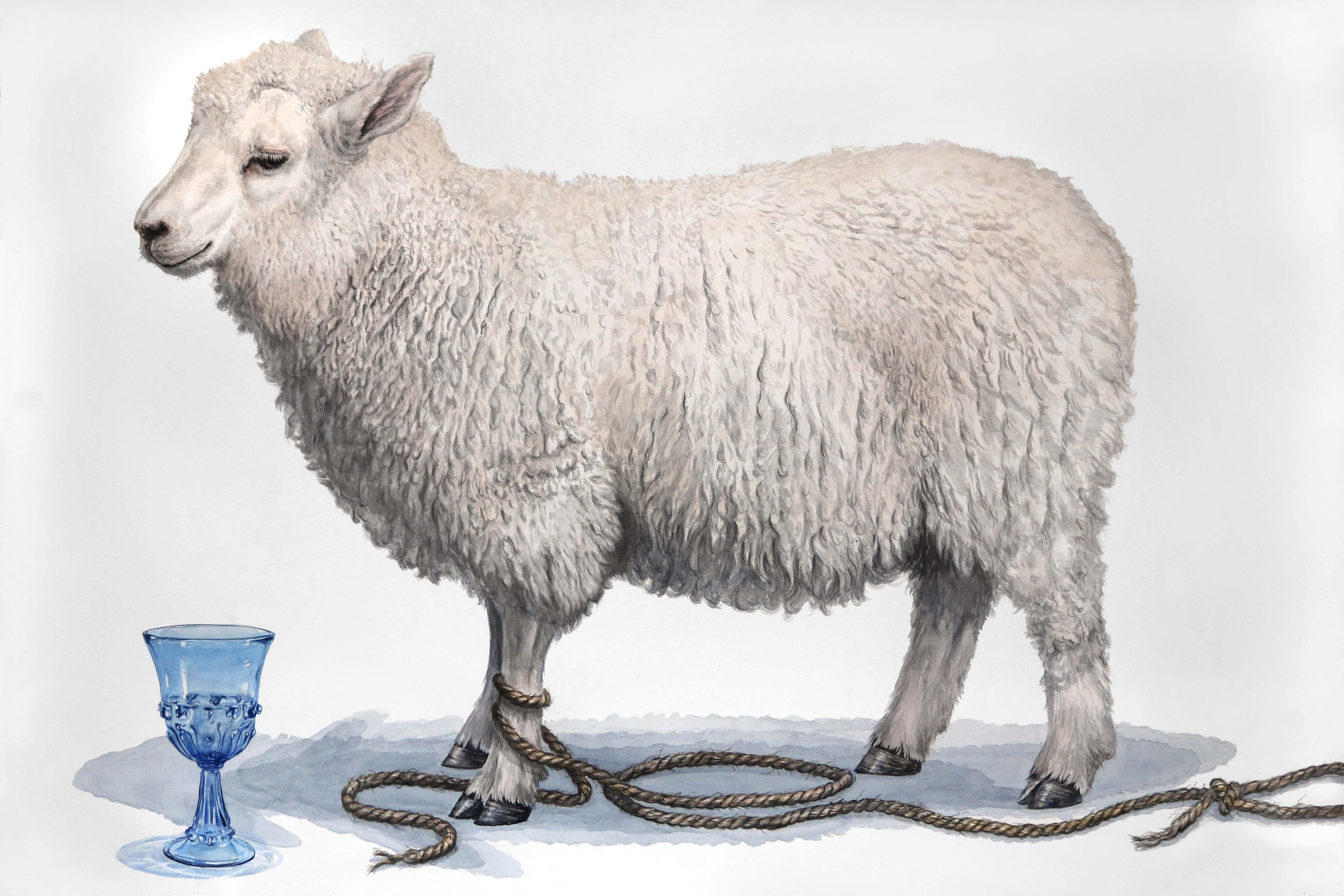 """Animal Still Life Watercolor, """"Blue Goblet"""" (white lamb on open ground)"""