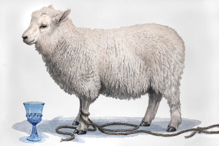 "40""x60"" watercolor on paper, signed on reverse by the artist, Thomas Broadbent. This painting depicts a lone lamb standing with a natural fiber rope lead loosely coiled around one leg.  A blue crystal goblet is set in front of the white, fluffy"