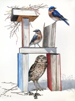 Book Burrow, watercolor on paper