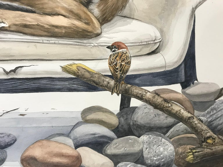"""Forest Animal Painting """"Close to the Stream"""" (deer, quail, falcon, sparrow) For Sale 3"""