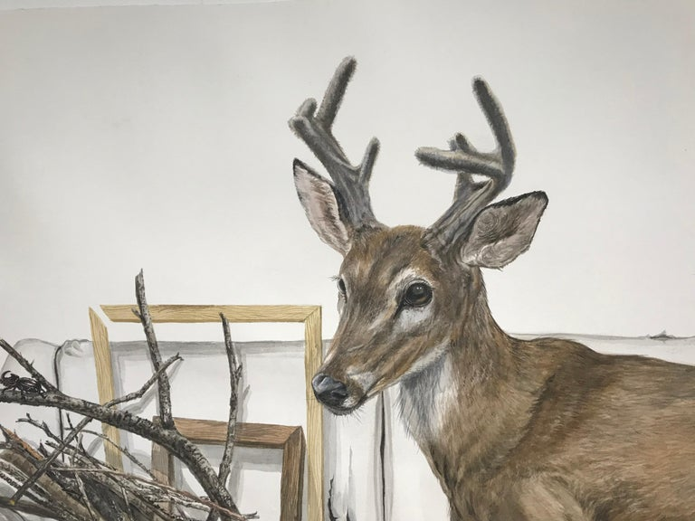 """Forest Animal Painting """"Close to the Stream"""" (deer, quail, falcon, sparrow) For Sale 4"""