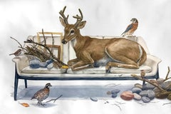 "Large Scale Watercolor ""Close to the Stream"" forest animals: deer, quail, falcon"