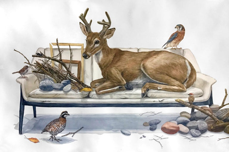 """40""""x60"""" watercolor on paper, signed on reverse.  A contemporary surrealist still-life with animals from the forest, this large-scale watercolor brings nature into a domestic setting. This large scale watercolor by New York artist, Thomas Broadbent,"""