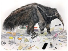 """""""Domestic Forager"""" large scale contemporary surrealist watercolor of anteater"""