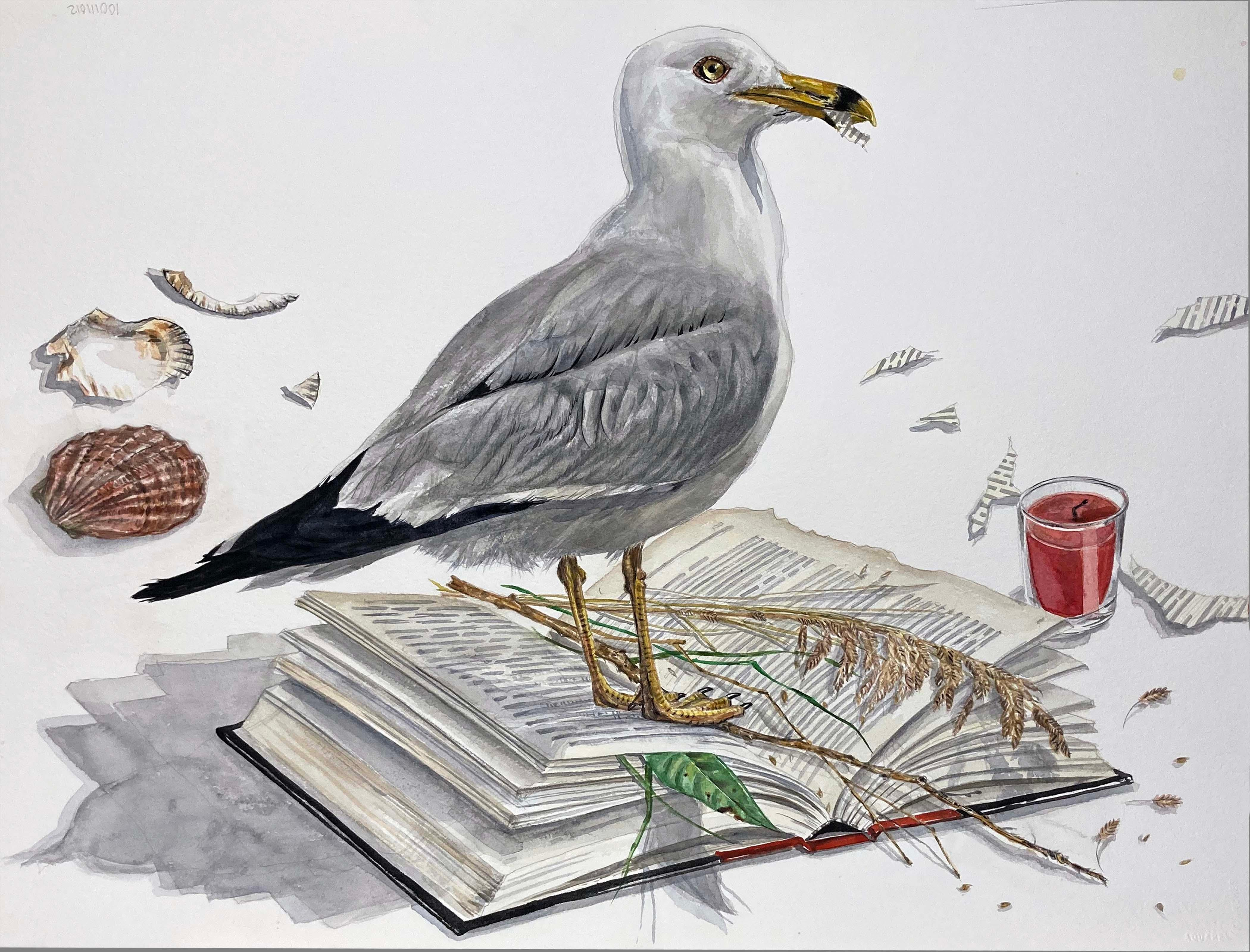 """""""Just Words"""" Contemporary Surrealist Painting (seagull with shells and book)"""
