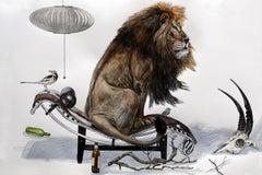 """Lion on Le Corbusier Lounge"" large scale contemporary surrealist watercolor"
