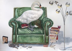 """""""Nesting Swan"""" Contemporary Surrealist, Large scale Watercolor painting"""