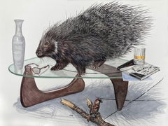 """""""Quills"""" Contemporary Surrealist painting (porcupine, mid-century modern table)"""