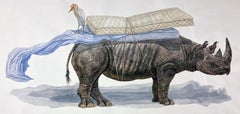 """""""Respite"""" Contemporary Surrealist large scale watercolor painting of Rhinoceros"""