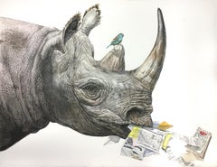"""Rhino"" Contemporary Surrealist Wildlife painting, rhinoceros with receipts"