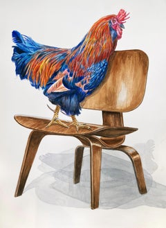 """""""Rooster on Chair"""" Colorful Gamecock on Modernist Bend Wood Chair, watercolor"""
