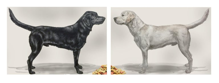 "Thomas Broadbent Animal Art - ""The Biscuits"" Large Scale painting of pair of dogs, contemporary conceptual art"