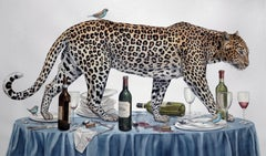 """The Dinner Party"" large scale watercolor on paper- jaguar w/ bluebirds"