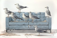 """The Flock"" Large Scale Watercolor Painting, seagulls on couch"