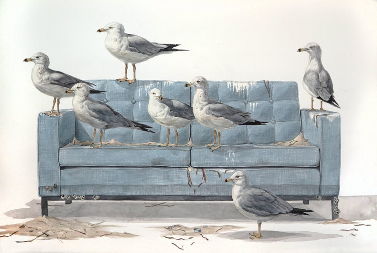 """40""""x60"""" watercolor on heavy stock paper. Depicting a flock of seagulls nested on a contemporary, blue mid-century modern sofa, this painting from a series of New York artist, Thomas Broadbent's series of works with investigate natural elements and"""