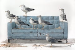 """""The Flock Revisited"" Large Scale Watercolor Painting, seagulls on couch"