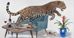 """""""The Toast"""" contemporary surrealist painting - jaguar leaps from modernist table"""