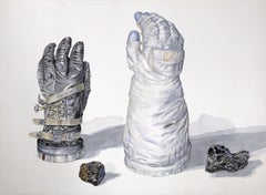 Two Space Suit Gloves with Meteorites