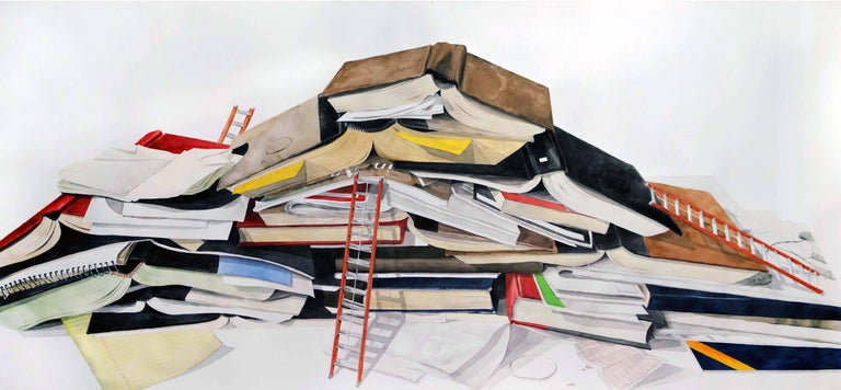 This is an amazingly detailed large-scale watercolor by the artist.  At nearly nine feet in length, this is an impressive statement piece.  Beautifully painted, this watercolor depicts a stack of books, with an illusion of a scale shift with the