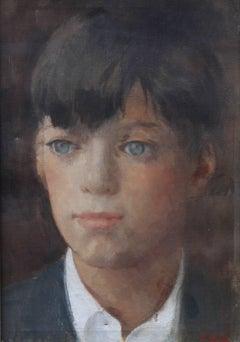 Portrait of a Boy - Irish Post Impressionist oil painting blue eyed boy
