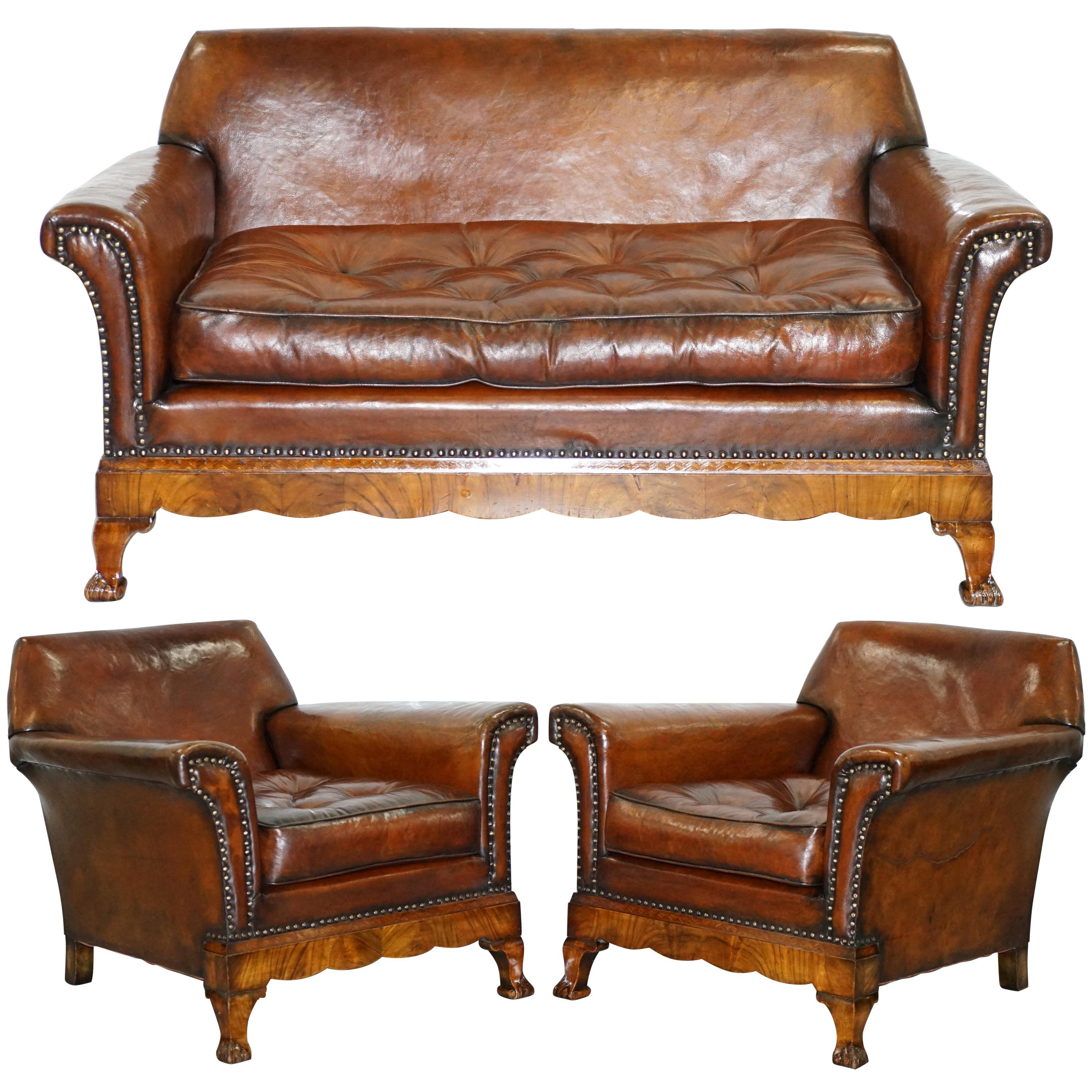 Thomas Chippendale Marquetry Walnut Inlay Brown Leather Sofa And Armchairs Suite For At 1stdibs