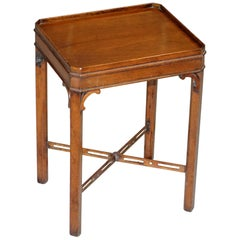 Thomas Chippendale Style Victorian Mahogany Silver Tea Side Table with Gallery