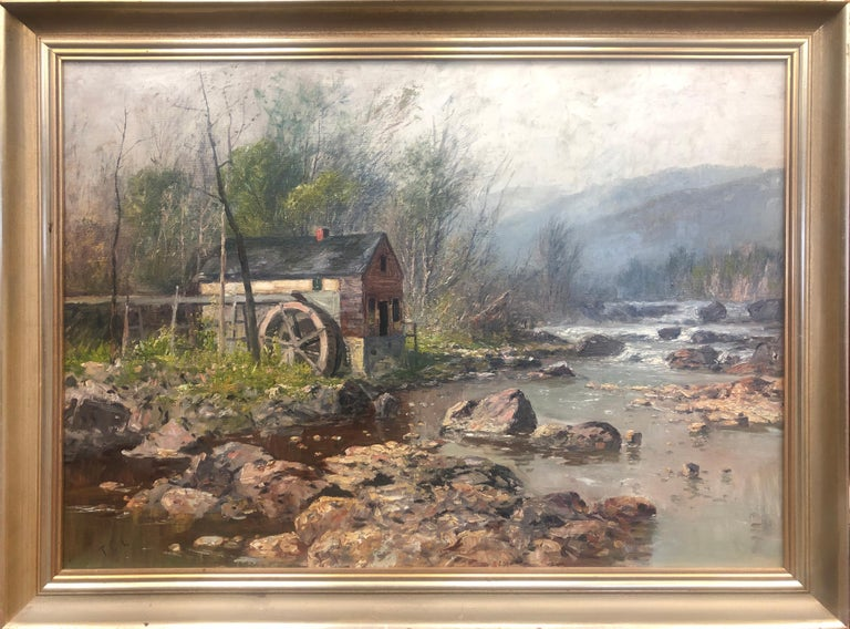 Thomas Corwin Lindsay 1838-1907 painting of an Old Mill. Lindsay is known for his animal and farm scenes.