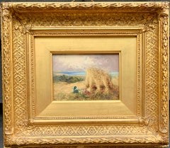 Antique English Harvest landscape with corn stacks, dog and view of the sea