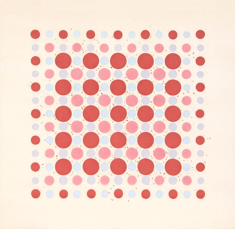"""A painting by Thomas Downing. """"Red Fours"""" is an abstract, acrylic on canvas by American Color Field artist Thomas Downing. """"Red Fours"""" is executed in a palette of reds, pinks and pale blues and depicts a field of dots in a precise pattern. Downing's"""