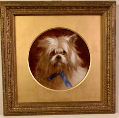 English Victorian 19th century oil portrait of a white terrier toy or lap dog