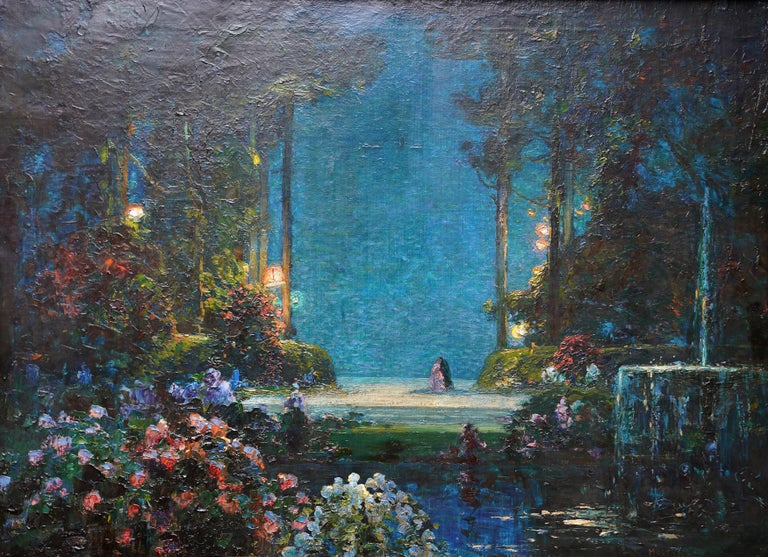 A Romantic Garden Landscape - British Edwardian Impressionist art oil painting - Painting by Thomas Edwin Mostyn