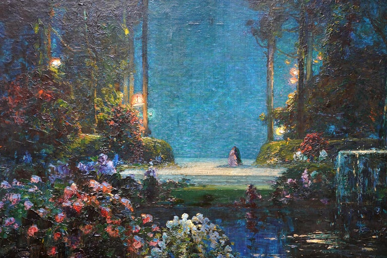 A Romantic Garden Landscape - British Edwardian Impressionist art oil painting - Black Landscape Painting by Thomas Edwin Mostyn