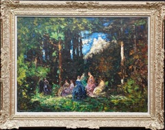 Elegant Ladies in a Woodland Clearing - British Edwardian landscape oil painting