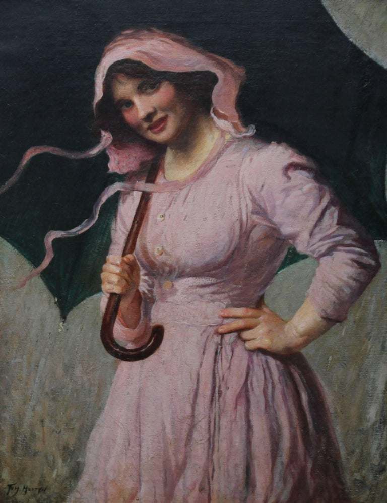 Lady in pink - British Edwardian art Impressionist portrait oil painting girl  For Sale 1