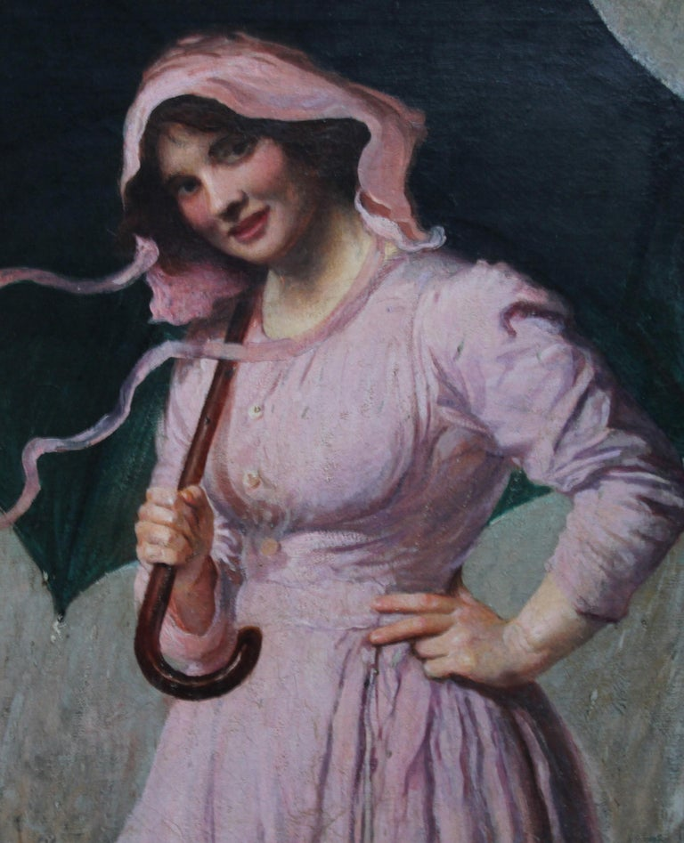 Lady in pink - British Edwardian art Impressionist portrait oil painting girl  For Sale 2
