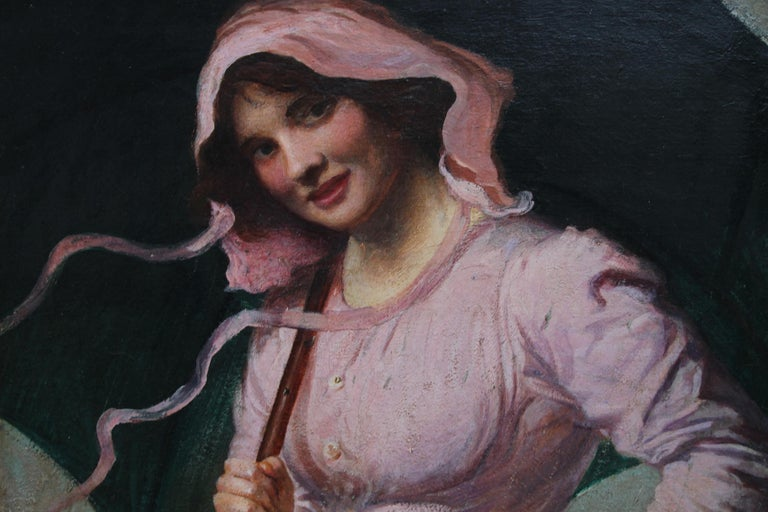 Lady in pink - British Edwardian art Impressionist portrait oil painting girl  For Sale 3