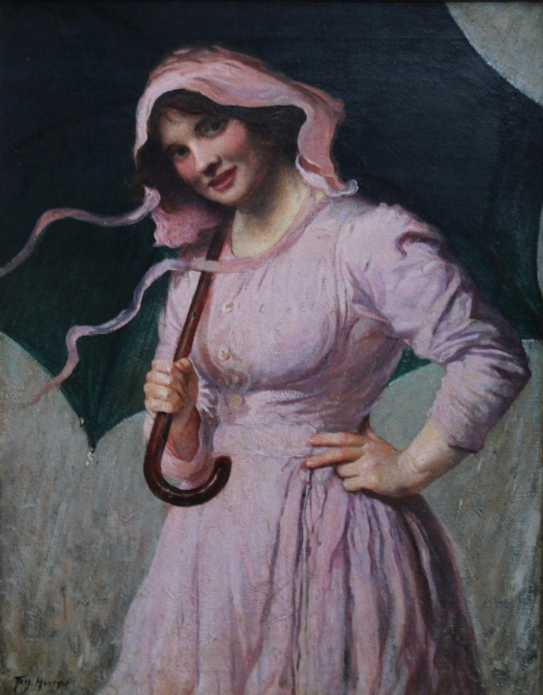 Lady in pink - British Edwardian art Impressionist portrait oil painting girl  For Sale 6