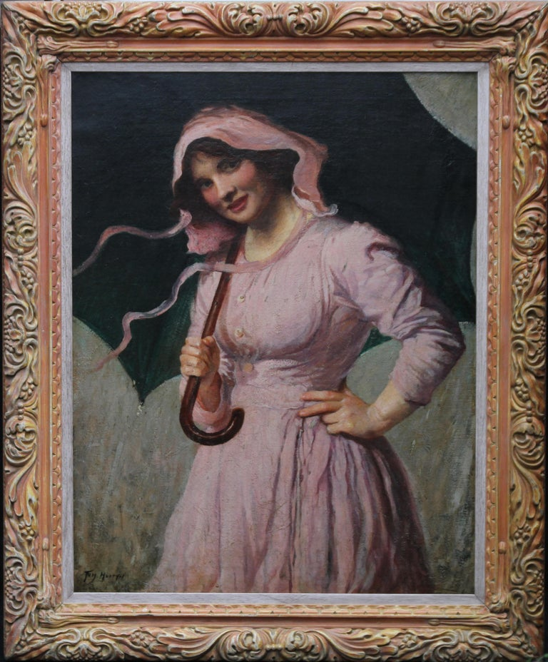 Lady in pink - British Edwardian art Impressionist portrait oil painting girl  For Sale 7