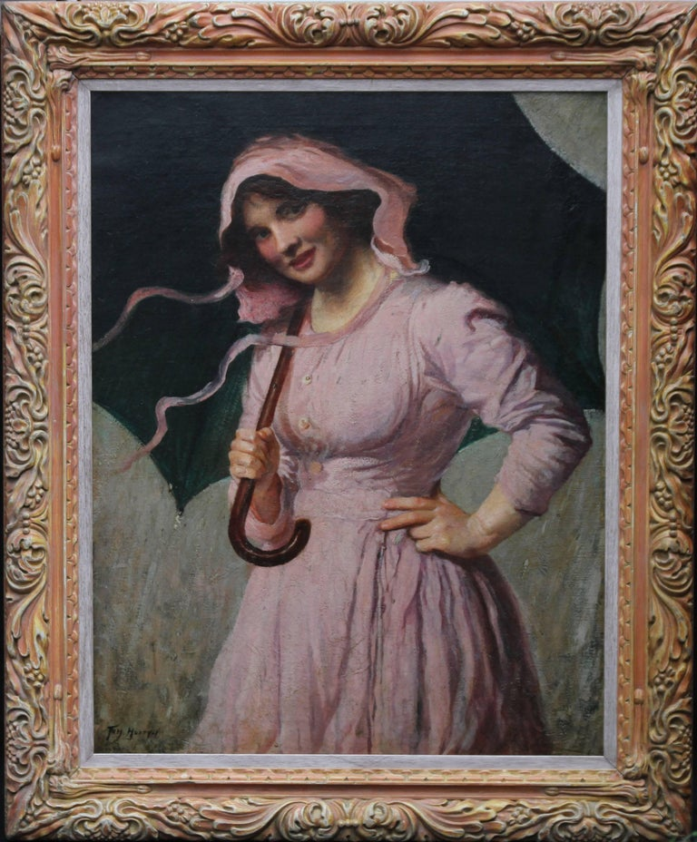 A lovely portrait oil painting by British listed artist Tom Mostyn ROI. Painted circa 1910 it depicts a beautiful smiling young woman in a pink dress holding an umbrella. A glorious portrait by a noted British Impressionist of the day. This is a