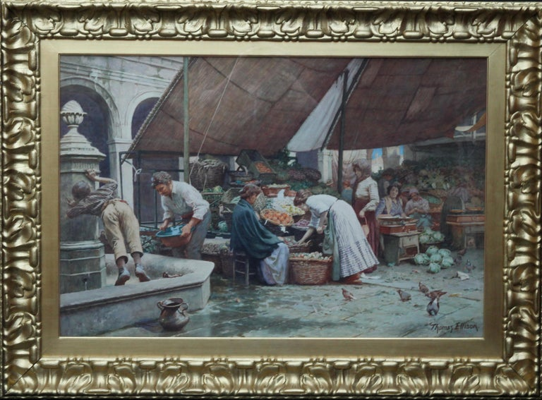 The Market Place Venice - British Victorian art painting market sellers Italy  For Sale 13