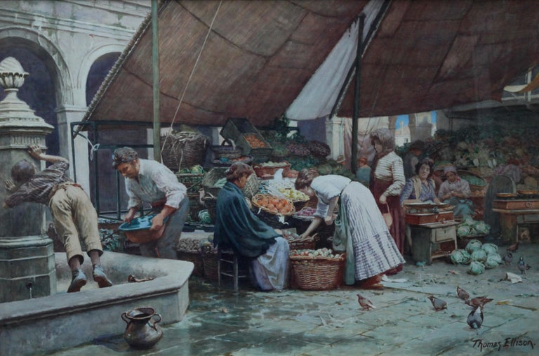 The Market Place Venice - British Victorian art painting market sellers Italy  For Sale 1