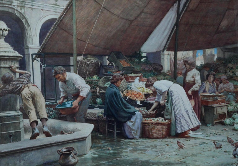 The Market Place Venice - British Victorian art painting market sellers Italy  For Sale 2