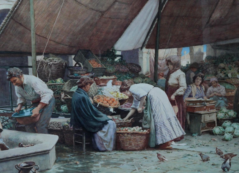 The Market Place Venice - British Victorian art painting market sellers Italy  For Sale 3
